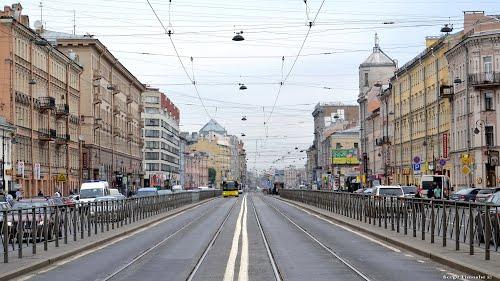 Изображение автобусных путей на Лиговском проспекте