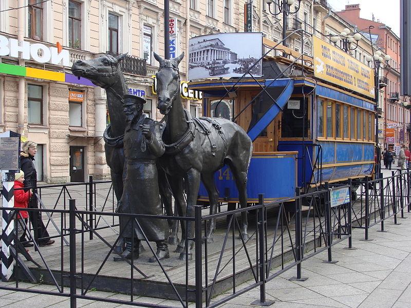 Памятник Конке рядом с Василеостровской